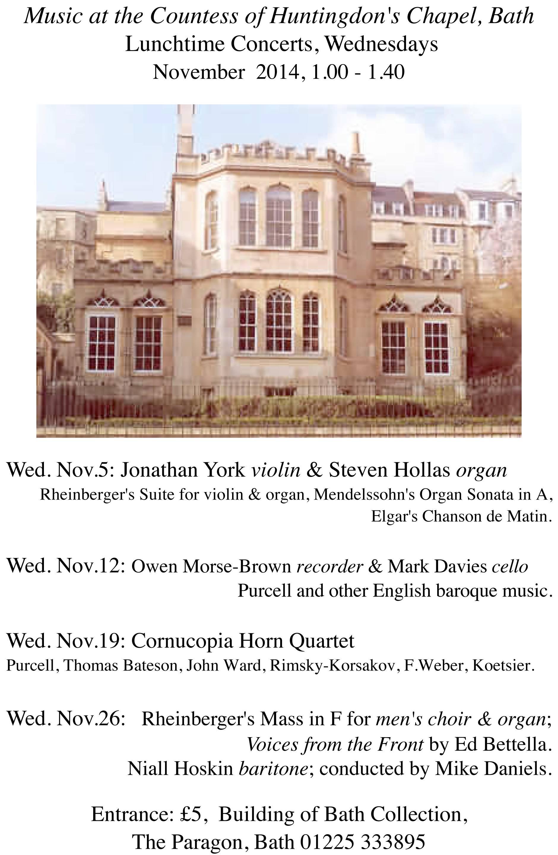 Steven Hollas Concert Series, Building of Bath Collection